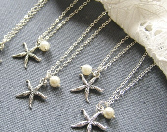 SET of 6 - Starfish pearl necklace, bridesmaid necklace, bridemaid gift wedding jewelry set white ivory pearl - W047