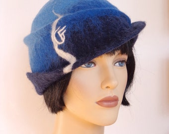 Shades of blue hat, felt cloche, 1920s inspired hat, art deco fashion, vintage inspired, 20s accessory