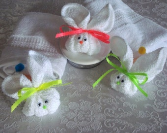 10 Boo Boo Bunny Favors, wash cloth bunny, baby shower favors