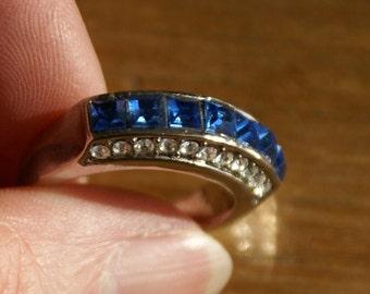 Sale Blue Rhinestone Fashion Ring Size 7.5