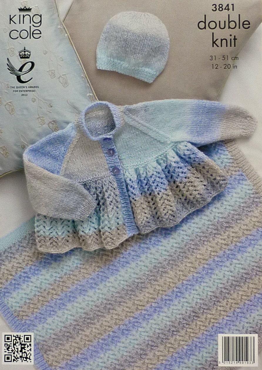 King Cole Caterpillar Knitting Pattern : Baby Knitting Pattern K3841 Babies Lacy Matinee Coat, Blanket and Hat Knittin...