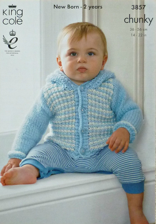 Baby Knitting Pattern K3857 Babies Long Sleeve Hooded Check Jacket Knitting P...