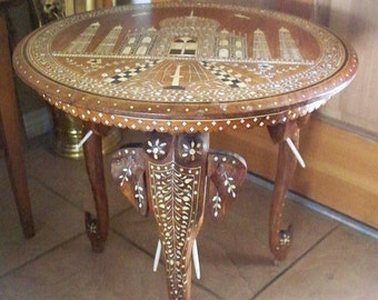 Antique INDIAN ELEPHANT Taj Mahal Motif Side Table Carved Inlaid Bone Made In India Hand Made Carved Wood Inlay