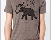 Elephant Birds T shirt Men's Women's Unisex - American Apparel Tee Tshirt  9 COLORS Full Spectrum Apparel Holiday Gift for him Gift for her