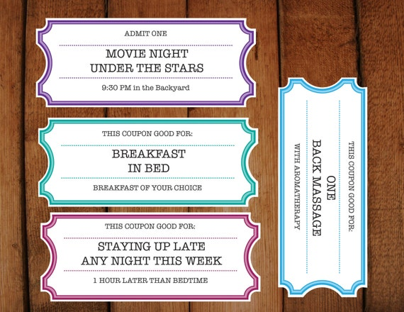 Printable Coupons Tickets Vouchers DIY Printable – How to Make Vouchers