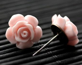 Baby Pink Flower Earrings. Baby Pink Earrings. Gardenia Flower Earrings. Bronze Post Earrings. Pink Rose Earrings. Handmade Earrings.