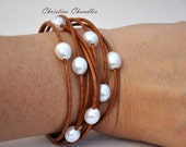 Droplet Pearl and Leather Bracelet - Multistrand Leather and Pearls - Pearl and Leather Jewelry Collection