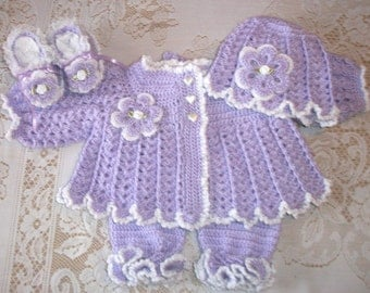 Crochet Baby Girl Sweater Set Layette with Ruffled Leggings and Booties or Feety Pants Perfect for Baby Shower Gift or Take Home Outfit