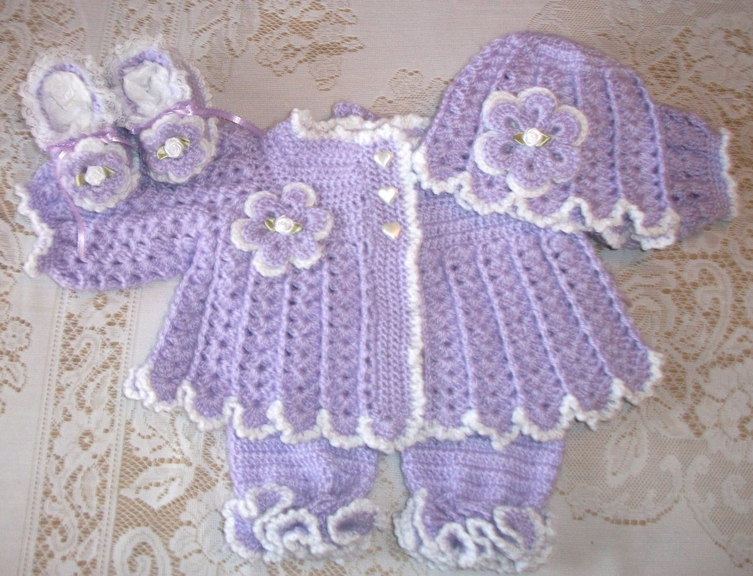 Crochet Baby Girl Sweater Set Layette With Ruffled Leggings