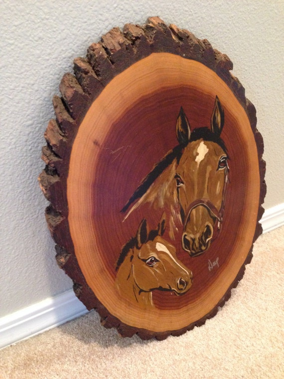 Wall Art Wood Slabs : Rustic horse painting on wood slab wall art