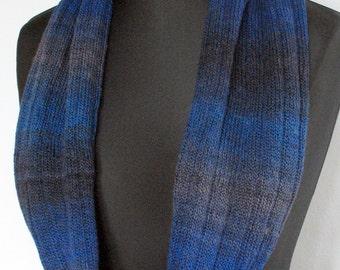 Blue Striped Infinity Scarf Cowl Wrap Black Blue Gray