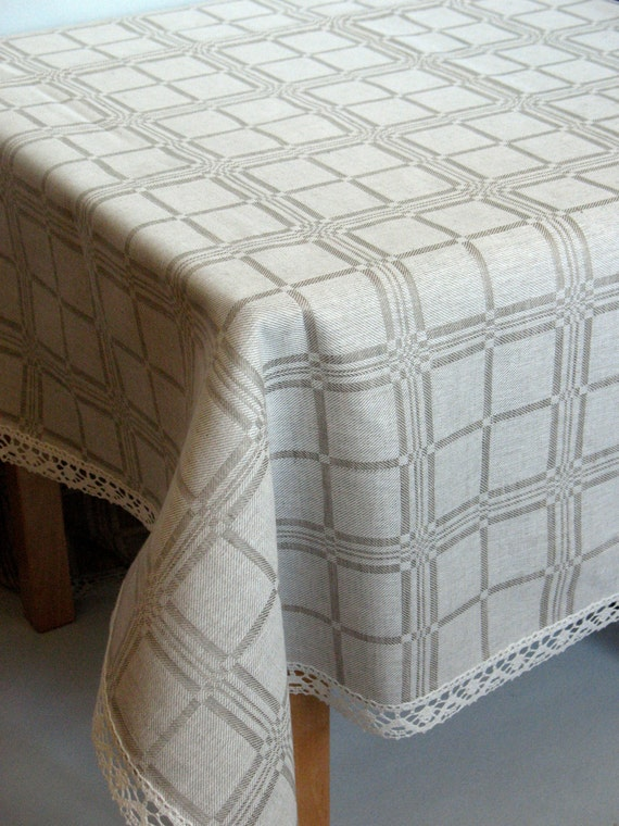 "Linen Tablecloth Checked Natural White Gray Linen Lace 97"" x 59"""