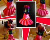 Monster High Inspired Doll Clothes -  Handmade Multi-Colored Sequins Top and Pink Skirt