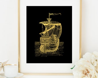 SAILING SHIP 1 Faux Gold Foil Art Print, Black & Gold, Imitation Gold Leaf, Nautical Art Print, Gold Ship, Beach Decor, Nautical Decor