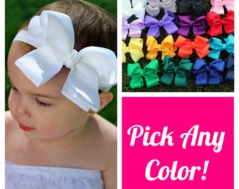 Baby Headband - 5 Bow Headbands - Baby Bow Headband Set