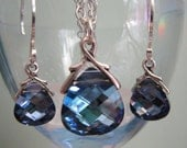 REDUCED - Swarovski Maliblue Necklace And Earring Gift Set - Sterling Silver Necklace Sterling Silver Earrings