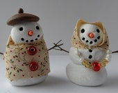 Miniature Snowman and Snowlady. Great for Dollhouse or Miniature Collector. Handmade. Quarter Inch Scale or Larger.