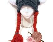 Womens Viking Helmet with Orange Braids - Hat - Women's - Newborn to Adult - Costume - Made to Order