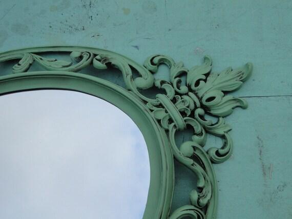 Gro es verzieren vintage oval gr n spiegel wand spiegel rahmen - Spiegel verzieren ...