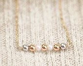 Mixed Pearl Bar Necklace - 14k gold filled tiny pearl bar necklace, tricolor pearl bar necklace, gold pearl bar, 14k gold filled chain
