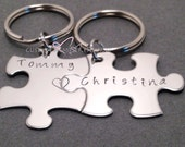 Personalized Couples Keychains, Name with Connecting Heart, Hand Stamped Keychains, Puzzle Piece Keychains, Couples Gift, Gift Ideas