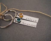 Couples Keychains, Personalized Name Keychains with birthstones, Couples Rectangle Keychains, Couples Gift, Gift for her, Boyfriend Gift