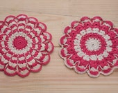 Vintage Handmade Hot Pink and White Crocheted Pot Holder Set