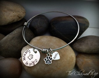 Dog Memorial Bangle Bracelet - Adjustable Memorial Bangle Bracelet - Pet Sympathy Gifts -Pet Loss Gifts - Paw Print Gifts - The Charmed Wife