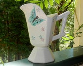 Vintage Hull Pitcher 1956 Butterfly and Flowers