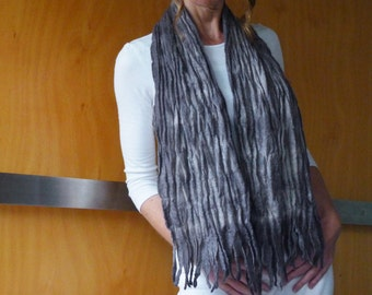 Grey scarf felted wool, textured nuno felt, natural designer clothing, eco friendly clothing, funky women's clothing