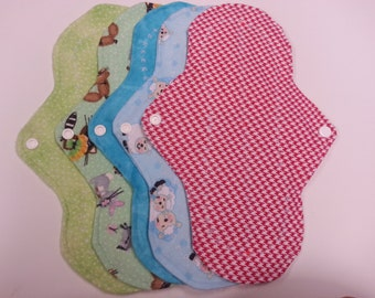 Five, 10 inch Washable Leak Proof Menstrual Pads