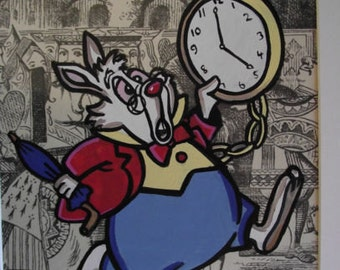Handpainted white rabbit from Alice in wonderland animation cel 12 x 10 inch hand painted mounted ready to frame