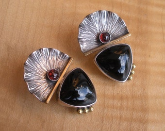 Awesome Sterling Silver Black Onyx and Carnelian Statement Earrings