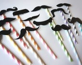 Photo Booth Props - Set of 12 BLACK Mustaches on colorful striped straws - Photobooth Props Party Props