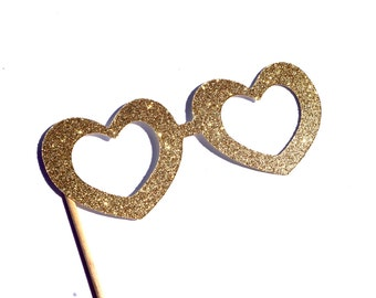 Photo Booth Props -  GLITTER HEART glasses - You Choose Color - Birthdays, Weddings, Parties - Photobooth Props