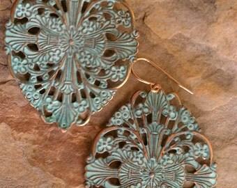 Boho Earrings Turquoise Patina Brass Filigree Medallion Earrings Gypsy Earrings