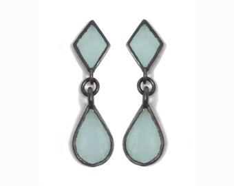 Tear Drop Silver Earrings,Blue Enamel, Sterling Silver Jewelry, Oxidised silver, Dangle Earrings