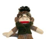 """8"""" Sock Monkey in Green Fleece Vest"""
