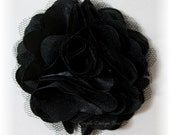 "Black Hair Flower - Black Flower Clip - Hair Clip or Brooch - 3"" OLIVIA FLOWER - Satin Hair Flower - Black Satin Flower - Hair Flowers"