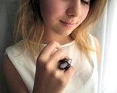 Copper statement ring, copper wire wrapping, Agate ring, big outstanding ring, purple elvish ring