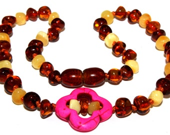 Unique Baby Teething Baltic Amber Necklace with Flower Pendant
