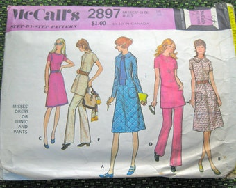 1971 Sewing Pattern McCall's 2897 Misses dress, tunic, pants size 10 bust 32.5