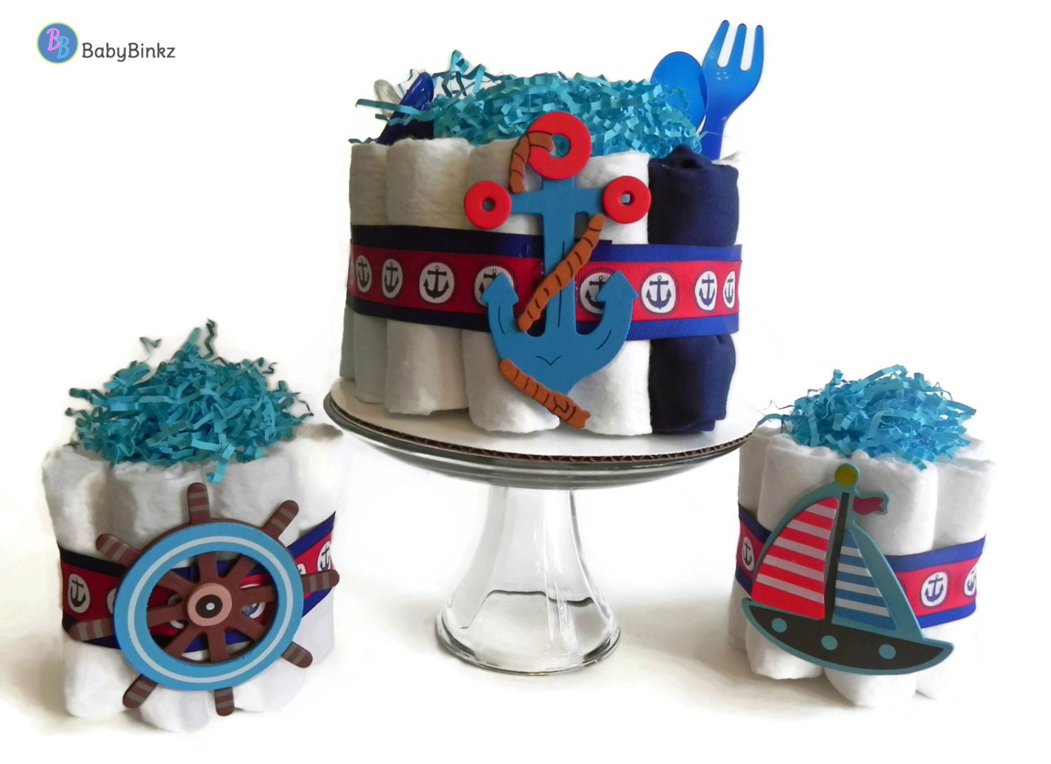 Diaper Cake Party Pack   Nautical Anchor, Sailboat U0026 Boat Steer   Baby  Shower Gift Decoration Baby Boy Blue Red Navy Gift Centerpiece