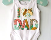 Fathers Day New Dad Baby Bodysuit I 'heart' Dad Baby New Dad Metallic Green Floral