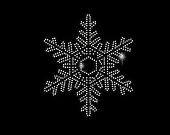 Snowflake Style B Rhinestone Transfer - Rhinestone Snowflake - Iron On Clothing Transfer 34138
