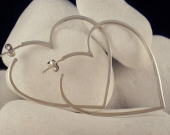 Outlined Heart Hoop Earrings - Solid Sterling Silver - FREE Shipping