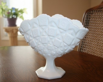 Vintage Westmoreland White Milk Glass Fan Pedestal Bowl Old Quilt Star Square Pattern Cottage Romantic Chic