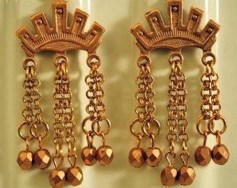 Handmade Vintage Copper Crown Chain Drop Earrings