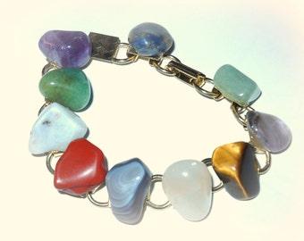 Agate gold bracelet, vintage 1960's, tumbled gemstones