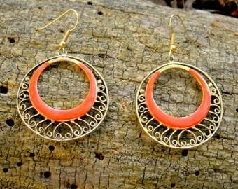 gold hoop earrings, enamel and filigree, vintage 1960's, boho statement jewelry